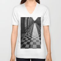 moscow V-neck T-shirts featuring Moscow Metra by Kim Ramage