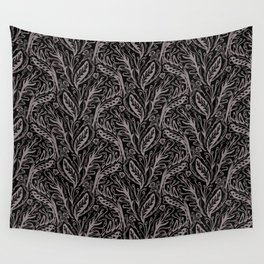 Modern Floral Leaf Nature Pattern, Monochrome Tonal Grey on Black with Linear detail Wall Tapestry