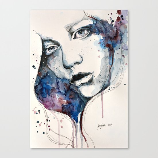 Window, watercolor & ink painting Canvas Print