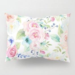 Blush pink watercolor elegant roses floral Pillow Sham
