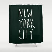 nyc Shower Curtains featuring NYC by Leah Flores