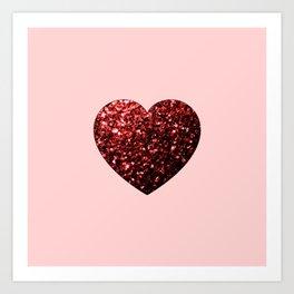 Red Glitter sparkles Heart Art Print