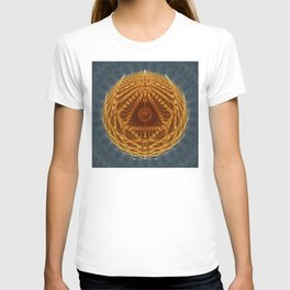 Mandala of Radiant Abundance (grey-gold) T-shirt