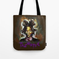 basquiat Tote Bags featuring Jean Basquiat by Tazmatic
