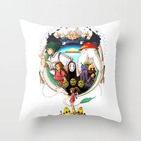 spirited away Throw Pillows featuring Spirited away by Willow