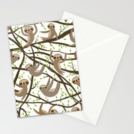 funny and cute smiling Three-toed sloth on green branch tree creeper Stationery Cards