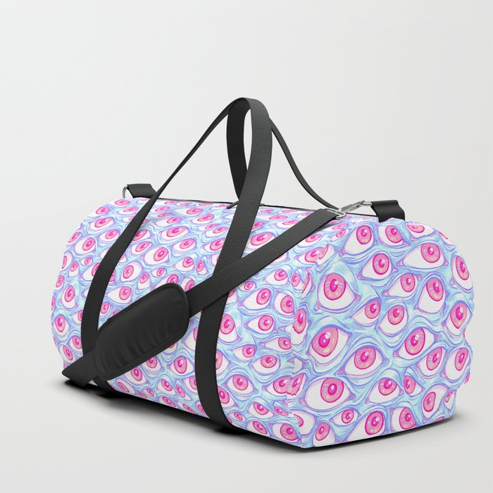 Wall of Eyes in Baby Blue Duffle Bag