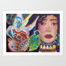 The Girl and The Bird  Art Print