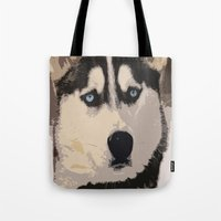 duvet cover Tote Bags featuring DOG DUVET COVER by aztosaha