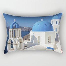 Santorini, Oia Village, Blue and White Church Rectangular Pillow