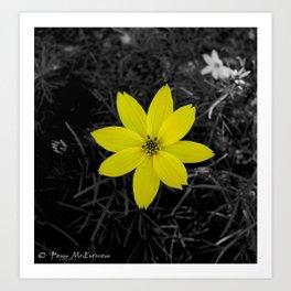 Yellow Flower - Colour Splash Art Print