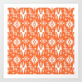 Mid Century Modern Atomic Space Age Pattern Orange Art Print