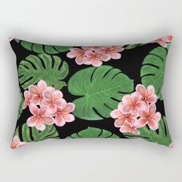 Tropical Floral Print Black Rectangular Pillow