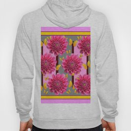 PINK DAHLIAS YELLOW BUTTERFLIES GREY ART Hoody