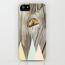 Woodgrain and pastel geometry (2) iPhone Case