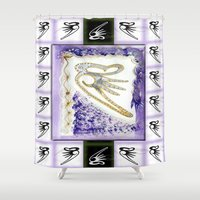 snowboarding Shower Curtains featuring Flying Sound by CrismanArt