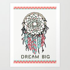 Dream Big dreamcatcher art decor poster dorm college kids children  Art Print