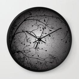 Dark Branch With Leaves Wall Clock