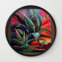 BROWN  DESERT AGAVE & BLUE DRAGONFLIES Wall Clock