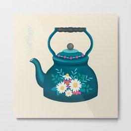 Time For Tea – Decorative Folkart Kettle / Teapot Illustration  Metal Print