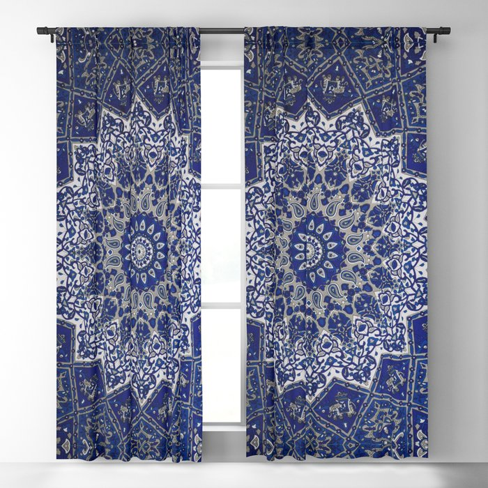 N33 - Blue Andalusian Bohemian Moroccan Mandala Artwork. Blackout Curtain