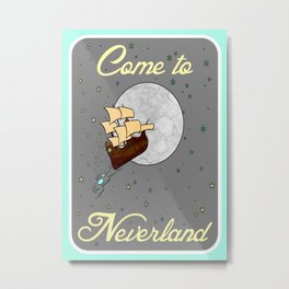 Come to Neverland on Gray with Blue Border Metal Print