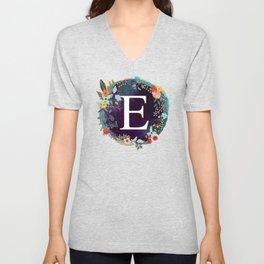 Personalized Monogram Initial Letter E Floral Wreath Artwork Unisex V-Neck