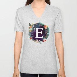 Personalized Monogram Initial Letter E Floral Wreath Artwork Unisex V-Neck