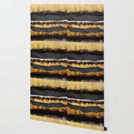 Golden Ocean Waves #1 #abstract #painting #decor #art #society6 Wallpaper