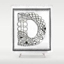 Zentangle D Monogram Alphabet Illustration Shower Curtain