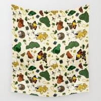 kaiju Wall Tapestries featuring Baby Kaiju Cream by TheBleepBloopShop