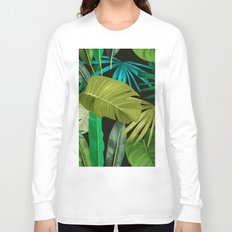 Tropical Leaf Pattern Long Sleeve T-shirt