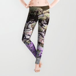 Rock Retaining Wall With Beautiful Trees and Purple Flowers Leggings
