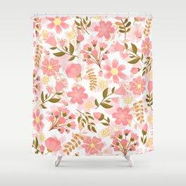 Pink Florals Seamless Pattern Design, Cute Pink Flowers Shower Curtain