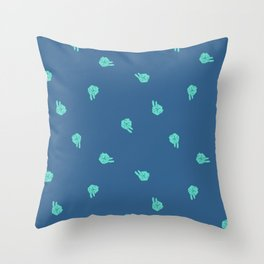 Cube Bunny Pattern - Blue Throw Pillow