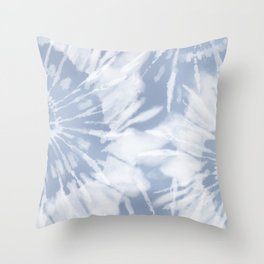 blue grey soft tie dye Throw Pillow