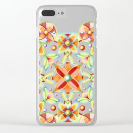 Suzani on black Clear iPhone Case