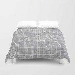 Oklahoma City Map, Oklahoma USA - Pewter Duvet Cover