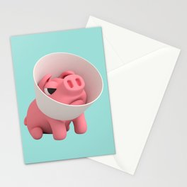 Rosa the Pig and Cone of Shame Stationery Cards