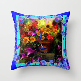 Blue Morning Glories Floral Still life Throw Pillow
