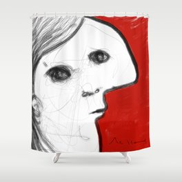 REVERIE : 002 ~ iPad Sketchbook Drawing, Abstract Face Shower Curtain