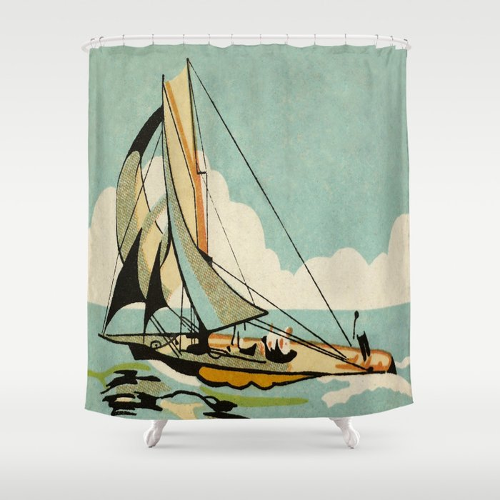 Vintage Japanese Sailboat Shower Curtain