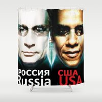 russia Shower Curtains featuring Russia  USA by Pavlo Tereshin