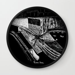 Panama Canal - White on Black Wall Clock