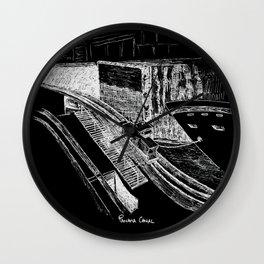 Panama Canal - White on Black Wall Clock