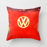 vw bus Throw Pillows featuring VW Bus by AndreaClare
