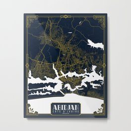 Abidjan City Map of Cote d'Ivoire - Gold Art Deco Metal Print