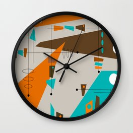 Mid-Century Rectangles Abstract Wall Clock