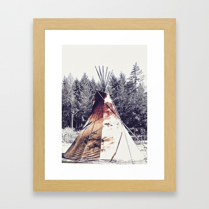 Tipi With Painted Elk And Birds Framed Art Print