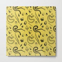 Snake and Tulip Pattern Metal Print